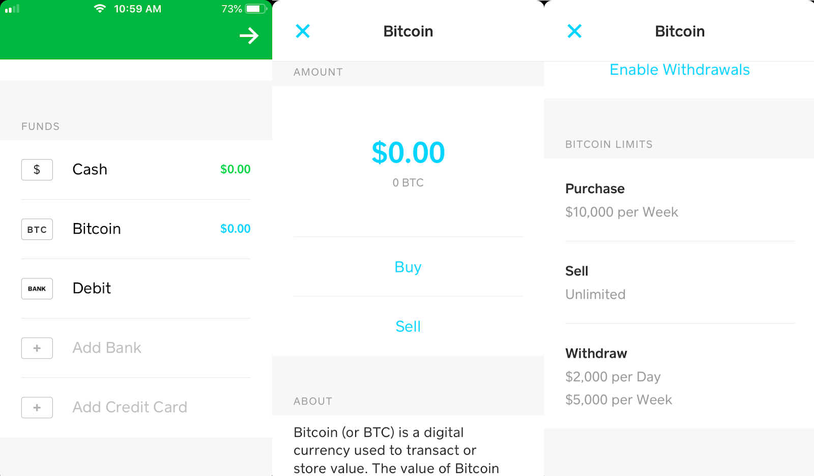 Screenshots of Venmo app showing balances in Cash and Bitcoin.