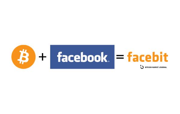 Bitcoin and Facebook logos.