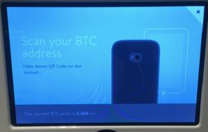 Screen your BTC address screen on a bitcoin ATM.