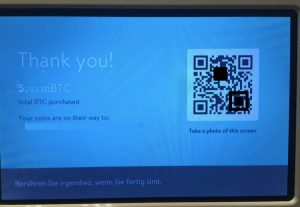 Bitcoin ATM Thank you screen.