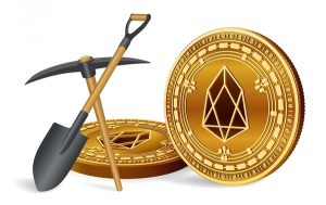 EOS logo on a gold coin, pickaxe and shovel.