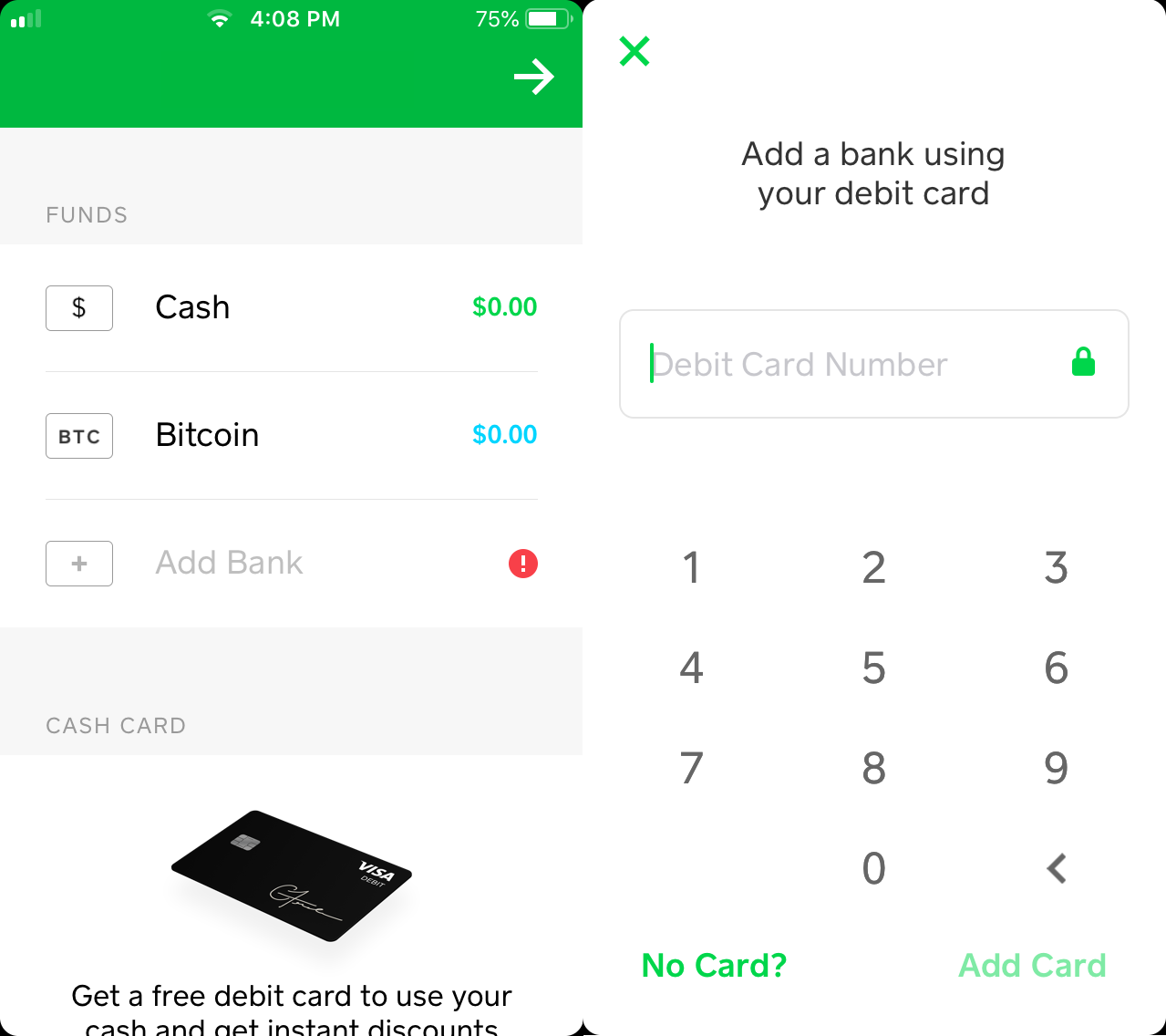 Square cash app add a bank screen.