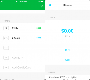 Square cash app buy coin screen.