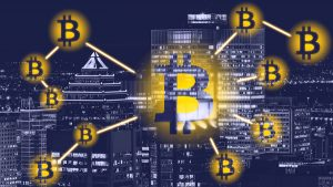 Bitcoin symbols with a city skin line in the background.