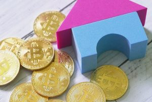 Gold coins with bitcoin symbol and play blocks forming a house.