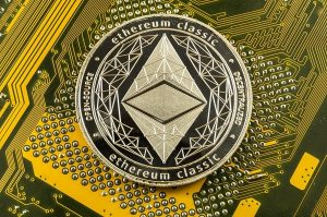 Gold coin labeled ethereum classic