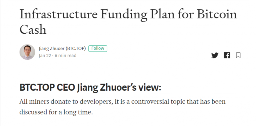 Infrastructure Funding Plan for Bitcoin Cash