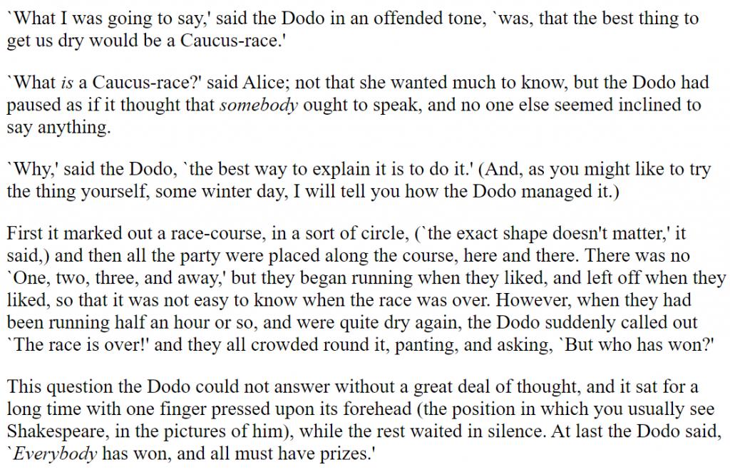 Alice in Wonderland paragraph