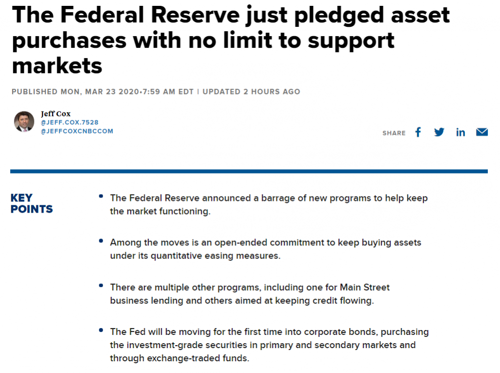 The Federal Reserve just pledged asset purchases