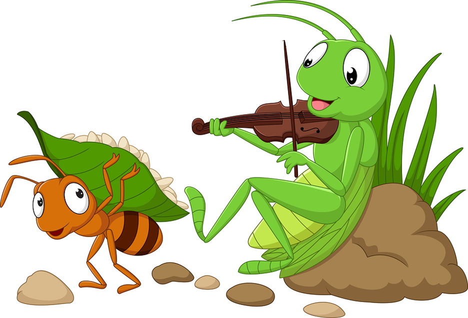 Ant and grasshopper.