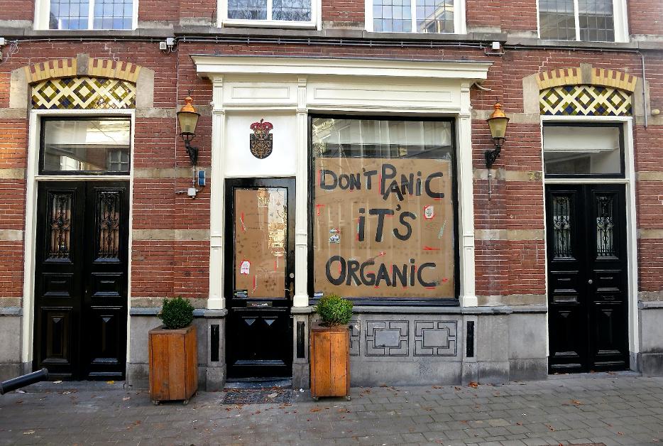Don't panic its organic sign.