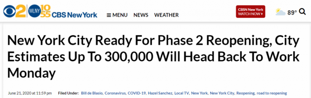New York City ready for phase 2.
