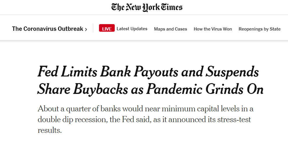 New York Times article about Feds limiting bank payouts.