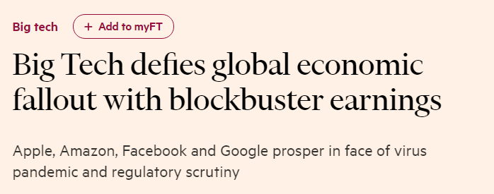 Big tech defies global economic fallout