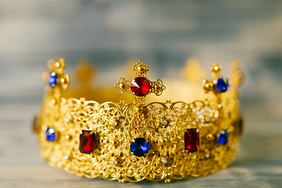 Gold crown with jewels.