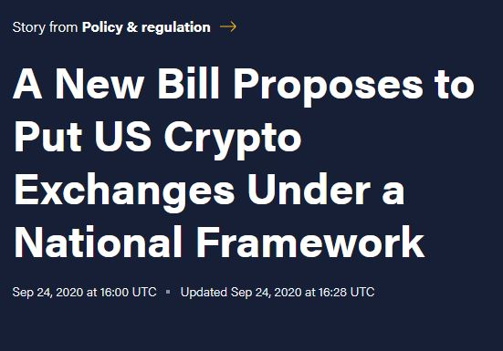 A New Bill Proposes to Put US Crypto Exchanges Under a National Framework