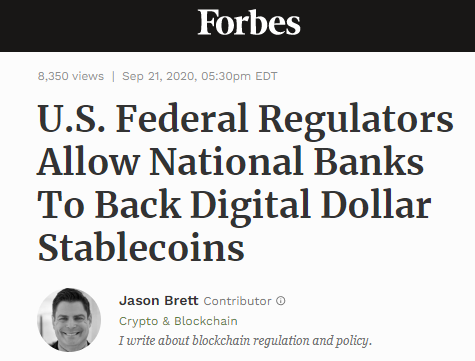 U.S. Federal Regulators Allow National Banks To Back Digital Dollar Stablecoins