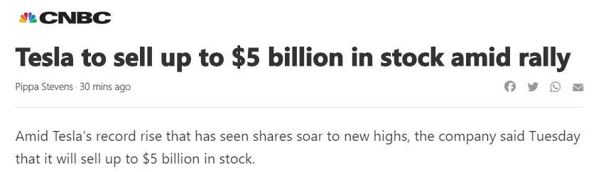 Tesla selling stock