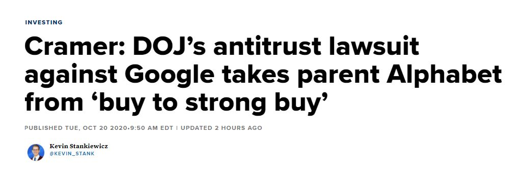 Cramer: DOJ's antitrust lawsuit against Google takes parent Alphabet from 'buy to strong buy'