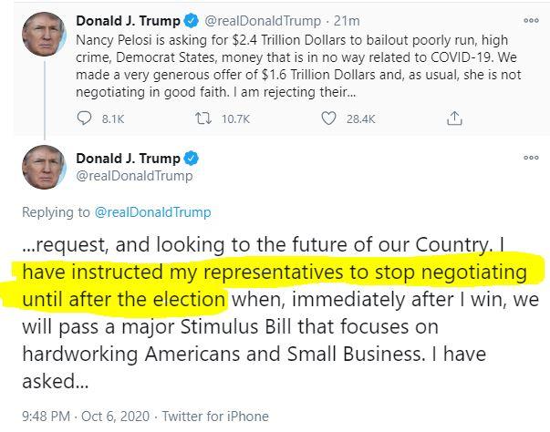 DJT tweet about stimulus after election.