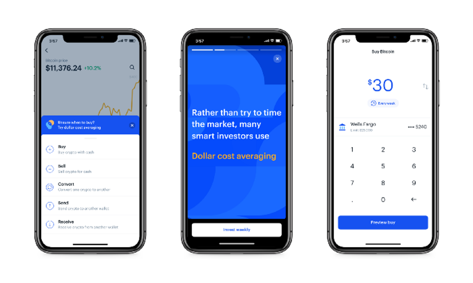 Coinbase app screen shots.