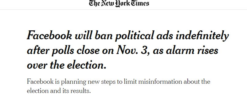 Facebook will ban political ads