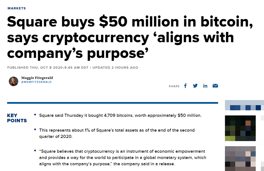 Square buys 50 million in bitcoin