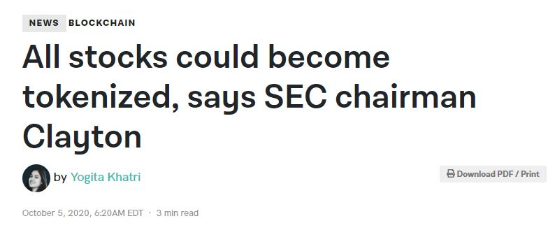 All stocks could become tokenized, says SEC chairman Clayton