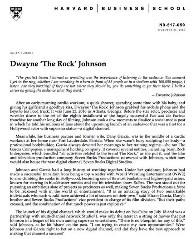 Dawyne the rock article
