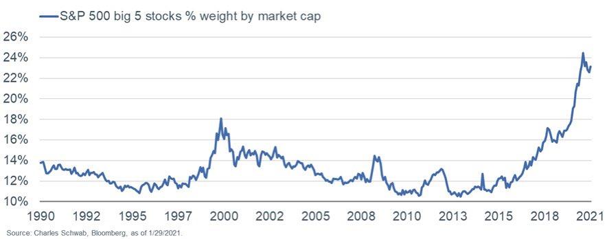 S&P 500 big 5 stocks
