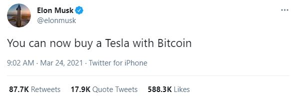 Buy a Tesla with bitcoin