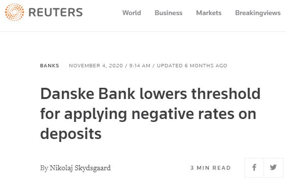 Danske Bank lowers threshold for applying negative rates on deposits