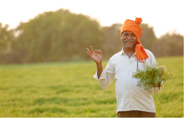 Smiling man holding a plant