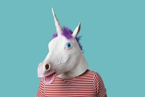 Unicorn mask on a human
