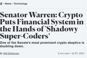 Bitcoin Remains Strong Despite Senator Warren's Latest Comments